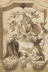 the coronation of the virgin with saints francis and anthony, inscribed in a cartouche with floral swags and an armorial device by jacopo (da empoli) chimenti