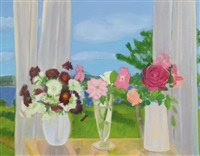 roses and chysanthemums by jane freilicher