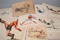 joueurs de football (7 works) by paul daxhelet