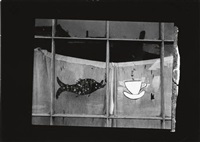 shop window with a painted fish and coffee cup; street scene (youngstown, gibson street) (2 works) by peter sekaer