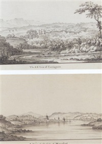 eight views of curraghmore house in 1768, waterford; a view of the city of waterford by jonathan fisher