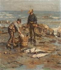 strandszene mit zwei fischern by frederick william jackson