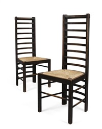 ladder back chairs (pair) by charles rennie mackintosh
