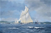 westward racing on the clyde with the paddle steamer marmion off her starboard beam; and britannia and westward racing to windward on the clyde (pair) by john j. holmes