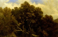 paysage à l'arbre déraciné by jean-baptiste-louis hubert