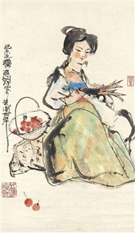 girl and bird by cheng shifa