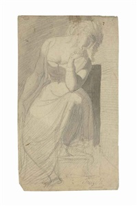 a contemplative woman seated, head resting on her right arm by henry fuseli