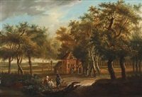 wooded landscape with four figures sitting in the foreground, several others carrying out the day's work in and around a cottage in a clearing by jan baptist huysmans