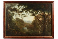 irish wooded landscape with stone bridge under construction by george barret