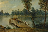 punt on the river murray at echuca by henry c. gritten