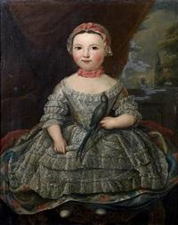 portrait d'enfant tenant un perruche by louis tocqué