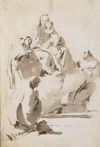 the holy family with two saints by giovanni battista tiepolo