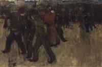 ouvriers revenant du travail au crépuscule by henri evenepoel
