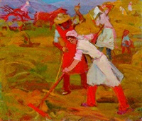 women gathering hay by zhenia arutyunyan