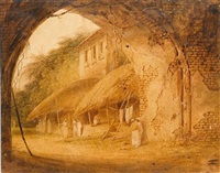 an indian street scene by charles (sir) d'oyly