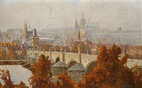 a view of prague castle and charles bridge by josef maria svoboda