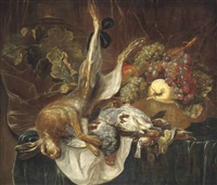 a hare, partridges and songbirds on a draped table with grapes, a quince and a peach in a woven basket by jan fyt