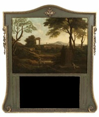 landscape with ruins and figures in the foreground set in a parcel gilt and painted trumeau frame by george lambert