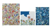 poporoke forest / flower 2 / an homage to ikb, 1957 (three works) by takashi murakami