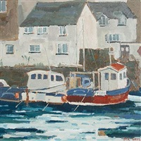 moored fishing boats, falmouth (+ another; 2 works) by eric ward