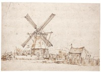 landscape with a windmill and other buildings by anthonie van borssom