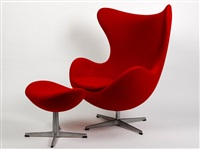 egg chair and footstool (2 works) by arne jacobsen