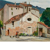 mexican village street by anthony thieme