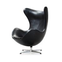 an arne jacobsen black leather 'egg' chair by arne jacobsen