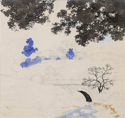 an estate view from a bridge a preliminary sketch by maxfield parrish