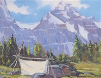 untitled - sketching tent in the rockies by peter whyte