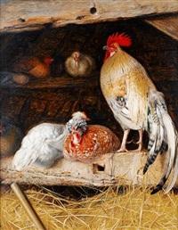 poultry in a barn by william j. (webbe) webb
