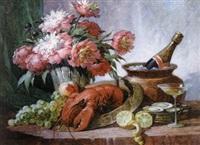 stilleben mit päonien und hummer by paul gericke