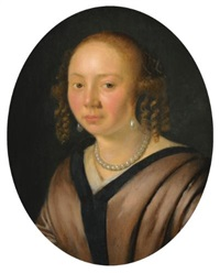portrait of a lady, head and shoulders, wearing pearl earrings, and a necklace by pieter cornelisz van slingeland