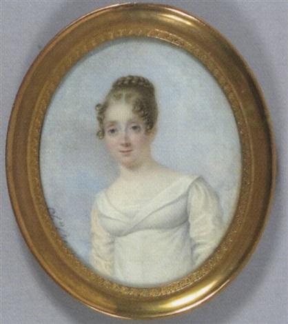 portrait de femme en robe de soie blanche et coiffée de tresse fond de ciel nuageux by charles antoine claude berny douville