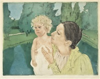 by the pond by mary cassatt