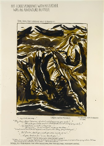 untitled (his correspondence with his father...) by raymond pettibon