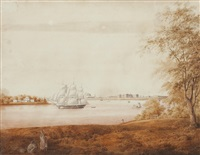view of calcutta and fort william from sir john d'oyly's garden reach by charles (sir) d'oyly