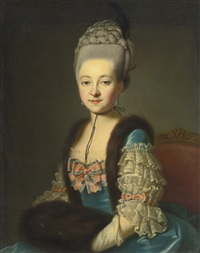 portrait of a young lady, in a blue silk dress with fur trim and muff by françois hubert drouais