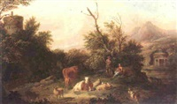 an italianate landscape with a cowherd watching over his livestock, shepherdess beside him cradling a child by jan van der vaardt