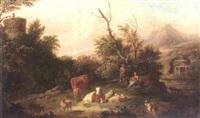 an italianate landscape with a cowherd watching over his livestock, shepherdess beside him cradling a child by jan van der vaardt