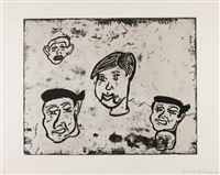 the counterfeiters - a portfolio of four prints by donald baechler