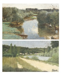 bords de rivière (2 works) by ferdinand heilbuth