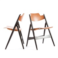 teak se18 folding chairs (pair) by egon eiermann