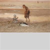 children on the beach by bernardus johannes blommers