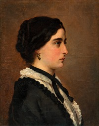 a young woman in black by albert edelfelt