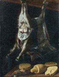 nature morte au chevreau, au lièvre et aux fromages by jacopo (da empoli) chimenti