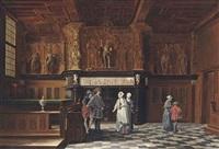 conversations in the the salle de franc, palais de justice de bruge, belgium by auguste serrure
