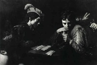 cardsharps deceiving a youth by jean valentin (de boulogne)