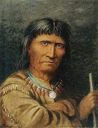 portrait of an indian chief by joseph julius humme