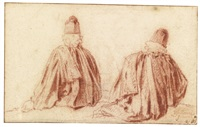 two studies of a magistrate, seen from behind by jean antoine watteau